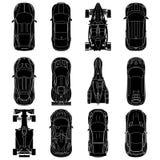 Sport en van de raceauto's hoogste mening geplaatste pictogrammen, Autosilhouetten Royalty-vrije Stock Afbeeldingen
