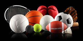 Sport equipment 2. Sport equipment and balls in front of black background Royalty Free Stock Photos