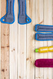 Sport Equipment. Ankle And Wrist Weights, Juice, Towel. Royalty Free Stock Images