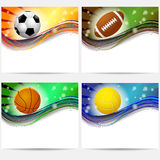Sport equipment banners basketball, football Royalty Free Stock Images