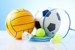 Sport equipment on blue background Stock Photos