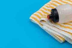 Sport equipment on blue background, top view. Concept healthy lifestyle royalty free stock photography