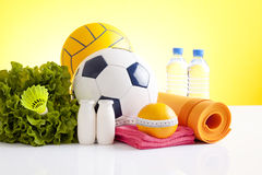 Sport equipment and diet concept Stock Images