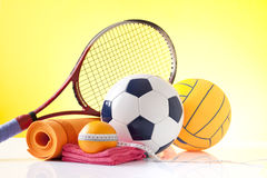Sport equipment and diet concept Royalty Free Stock Images