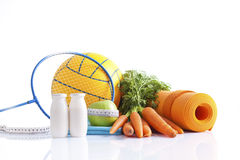Sport equipment and diet concept Stock Photos