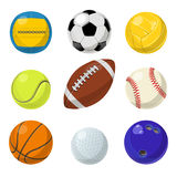 Sport equipment. Different balls in cartoon style. Vector collection set Stock Images