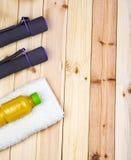 Sport equipment. Dumbbells, Juice, Towel. Stock Images