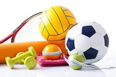 Sport equipment and fitness items Stock Photos