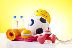 Sport equipment and fitness items Royalty Free Stock Image