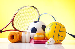 Sport equipment and fitness items Royalty Free Stock Images