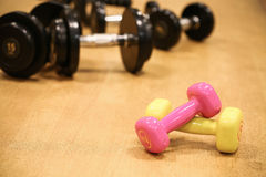 Sport equipment in fitness room or gym room, relax room for healthy people, Dumbbell in fitness and gym room.  stock photography