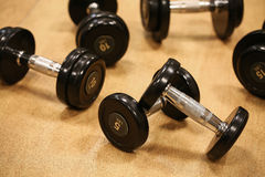 Sport equipment in fitness room or gym room, relax room for healthy people, Dumbbell in fitness and gym room Stock Photo
