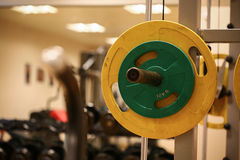 Sport equipment in fitness room or gym room, relax room for healthy people, Dumbbell in fitness and gym room.  stock images