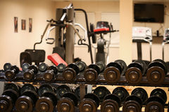 Sport equipment in fitness room or gym room, relax room for healthy people, Dumbbell in fitness and gym room Stock Photos
