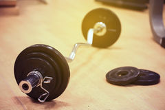 Sport equipment in fitness room or gym room, relax room for healthy people, Dumbbell in fitness and gym room,sport relax and healt Royalty Free Stock Photo