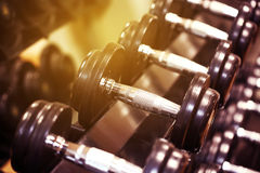 Sport equipment in fitness room or gym room, relax room for healthy people, Dumbbell in fitness and gym room,sport relax and healt Royalty Free Stock Photos
