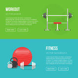 Sport equipment flat banner template. Gym and Fitness Club. Gym Stock Photo