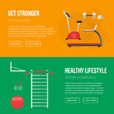 Sport equipment flat banner template. Gym and Fitness Club. Gym Royalty Free Stock Photography