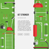 Sport equipment flat banner template. Gym training, bodybuilding Royalty Free Stock Photography