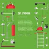 Sport equipment flat banner template. Gym training, bodybuilding Royalty Free Stock Photos
