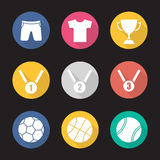 Sport equipment flat design long shadow icons set Royalty Free Stock Image