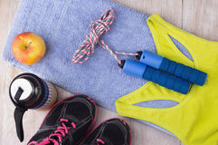 Sport equipment on floor Royalty Free Stock Image