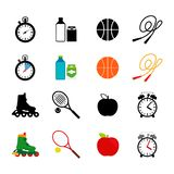 Sport equipment, food icons set royalty free illustration