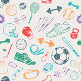 Sport Equipment Grunge Background, Seamles Pattern, Icons Royalty Free Stock Image