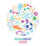 Sport Equipment, Healthy Lifestyle Pattern, Label Template Royalty Free Stock Photography
