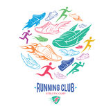 Running Club Logo Template, Running Shoes Patter Royalty Free Stock Image