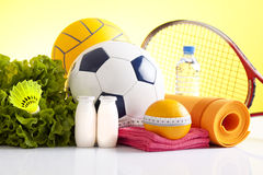 Sport equipment and healthy living concept Stock Images