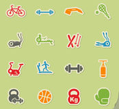 Sport equipment icon set. Sport equipment web icons on color paper stickers for user interface Stock Photos