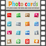 Sport equipment icon set. Sport equipment web icons on color photo cards for user interface Royalty Free Stock Photos