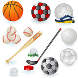 Sport equipment icons 1. A collection of 6 different sport equipment elements - part 1 stock illustration