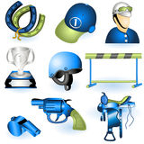 Sport equipment icons 3. A collection of 6 different sport equipment elements - part 3 royalty free illustration