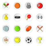 Sport equipment icons, cartoon style. Sport equipment icons set. Cartoon illustration of 16 sport equipment vector icons for web Royalty Free Stock Photos
