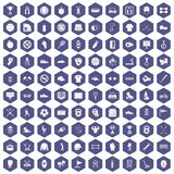 100 sport equipment icons hexagon purple Royalty Free Stock Photo