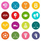 Sport equipment icons many colors set Royalty Free Stock Images