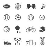 Sport and equipment icons. Mono vector symbols Stock Image
