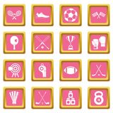 Sport equipment icons pink Royalty Free Stock Images
