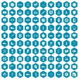 100 sport equipment icons sapphirine violet. 100 sport equipment icons set in sapphirine hexagon isolated vector illustration Stock Photo