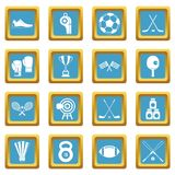 Sport equipment icons azure Stock Photos