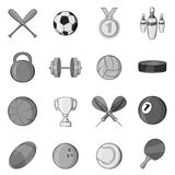 Sport equipment icons set, black monochrome style. Sport equipment icons set in black monochrome style. Sport games symbols set collection vector illustration Royalty Free Stock Images