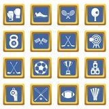 Sport equipment icons set blue Stock Photo