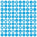 100 sport equipment icons set blue. 100 sport equipment icons set in blue hexagon isolated vector illustration stock illustration