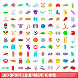 100 sport equipment icons set, cartoon style Royalty Free Stock Photography
