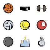 Sport equipment icons set, cartoon style Royalty Free Stock Images