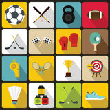 Sport equipment icons set, flat style Stock Image