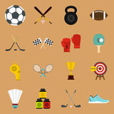 Sport equipment icons set, flat style Royalty Free Stock Image