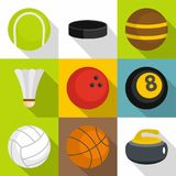 Sport equipment icons set, flat style. Sport equipment icons set. Flat set of 9 sport equipment vector icons for web with long shadow Stock Image